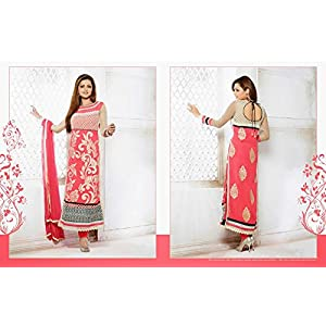 Drashti Dhami Georgette Embroidered Pink Semi Stitched Bollywood Style Pakistani Suit - 23372