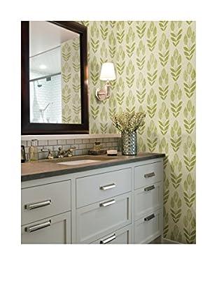Skye Block Print Tulip Wallpaper, Light Green
