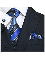 """Landisun 69H Stripes Mens Silk Tie Set: Necktie+Hanky+Cufflinks Black Blue, 3.75""""Wx66""""L"""