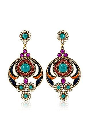 Fashion Victime Ohrringe  goldfarben/türkis/lila