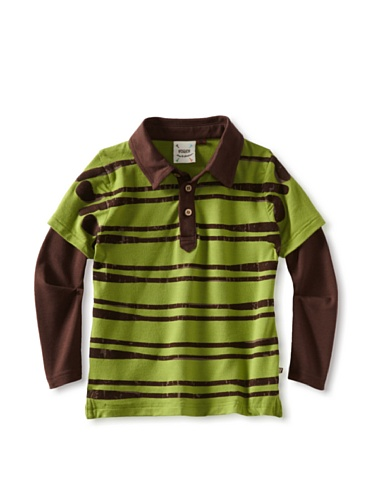 Fore!! Axel and Hudson Boy's Stack Club Flocked 2-Fer Polo (Fairway Green)