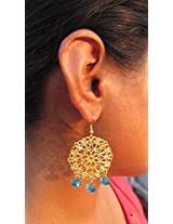 Under the Feather Filigree Earrings with Aqua Blue Drops