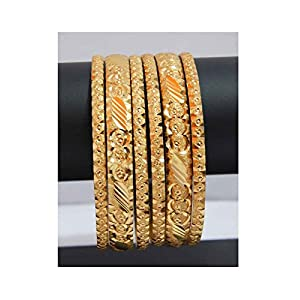 Classic Gold Plated Bangles with 6 Pieces Combo by JMD