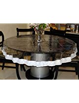 "Katwa Clasic - 70"" Inches Round Clear Transparent With Lace Border Table Cover"