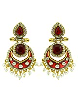 Peora Glossy Pearl Earrings for Women (Red)