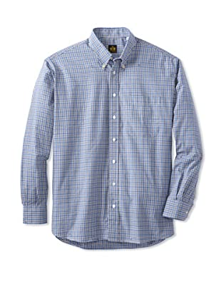Oxxford Men's Sport Shirt with Button-Down Collar (Blue/Grey Multi)
