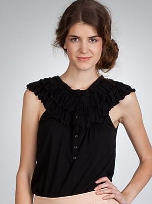 Naf Naf Camiseta Botones (negro)