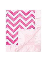"My Blankee Chevron Minky Raspberry/White with Minky Dot Pink Baby Blanket, Black/White, 30"" x 35"""