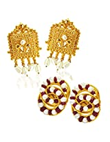 SURATDIAMOND Gold Plated & Pearl Stud For Women -Gold