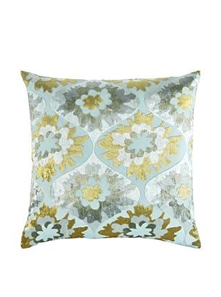 Kevin O'Brien Studio Hand-Printed Devore Velvet Puff Flower Pillow (Pale Blue)