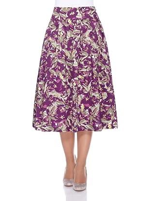 UNQ Baumwollrock (violett flowers)