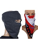 Jstarmart Grey Full Face Mask Combo Headwrap