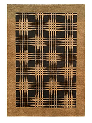 Hand-Knotted Finest Ziegler Chobi Wool Rug, Black/Brown, 4' 8