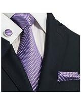 "Landisun 242 Solids Mens Silk Tie Set: Tie+Hanky+Cufflinks Bright Purple, 3.75""Wx66""L"