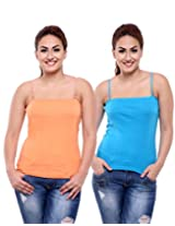 TeeMoods Pack of Two Women's Camisoles_TM-C-1509TURQUOISE&SKIN-L