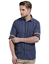 Sting Blue Checks Slim Fit Full Sleeve Cotton Casual Shirt