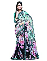 Admyrin Multi Colour Georgette Printed Saree with Brocade Blouse Piece