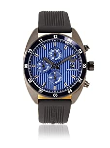 Emporio Armani Men's Black/Blue Textured Silicone Watch