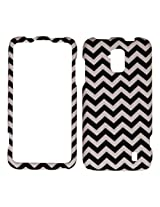Cell Armor Snap-On Protective Cover for ZTE Solar/Z795G - Retail Packaging - Black/White Waves