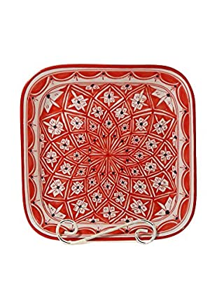 Le Souk Ceramique Nejma Square Serving Bowl, Red/White