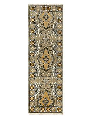 Hand-Knotted Royal Kazak Wool Rug, Gray/Khaki, 2' 1