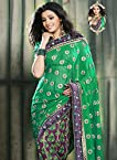 Purple And Green Ornate Georgette Saree