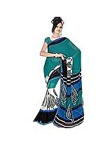 Sonal Trendz Blue & White Georgette Saree