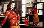 Ameesha Patel Brasso Embroidered Beige Semi Stitched Bollywood Style Pakistani Suit - 23147