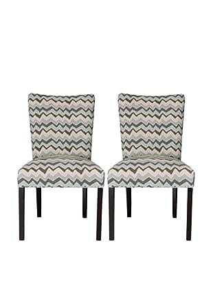 Sole Designs Set of 2 Denton Zigzag Fanback Chairs, Grey/Blue