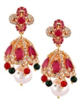 Varaagk Gold Jhumka with a Traditional Touch of Ruby Stone, Green Beads, Pearls and AD Stones