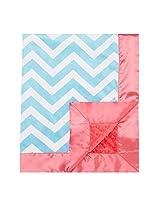 """My Blankee Chevron Minky Aqua/White w/ Minky Dot Watermelon Baby Blanket, 30"""" x 35"""""""
