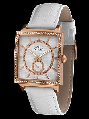 Bassel Reloj CR3030R con Correa de Piel blanco / bronce