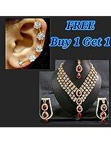 Pink 4 Line Kundan Necklace Set buy 1 get 1 free