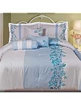 Casa Bajajio MTL-0498 Myrtle 7-Piece Comforter Set King White/Blue