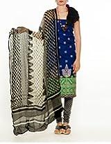 Unnati Silks Women Unstitched blue-cream pure handloom Rajkot cotton salwar Kameez