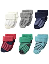 Carter's Baby-Boys Newborn 6 Pack Terry Cuff Socks, Multi, 0-3 Months