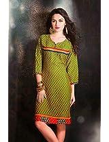 Cotton Jacquard Print Green Stitched Frock Style Kurti - 29241 - XL