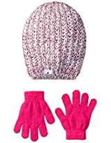 London Fog Big Girls' Ribbed Beanie with Lurex and Solid Magic Glove