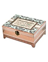 Cottage Garden Granddaughter Belle Papier Chest Musical Jewelry Box with Damask Finish Plays You Lig
