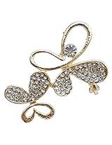 Foppish Mart Single Butterfly Golden Stone Studded Earcuff For Women