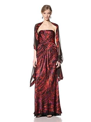Carmen Marc Valvo Women's Strapless Printed Gown (Sienna)
