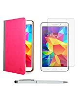 VanGoddy Mary Portfolio Multi Purpose Book Style Slim Flip Cover Case for Samsung Galaxy Tab4 T330/T331 8.0 (Pink) + Ball Pen Stylus + Matte Screen