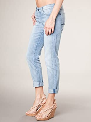 7 for all Mankind Josefina Scribble Hortensia Skinny Fit Boyfriend Style (hellblau denim)
