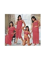 Indiatrendzs Sexy Hot Women's Silk Satin Nighty Red 6 pc Set Bedroom Sleepwear -Free Size