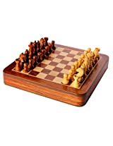 "StonKraft 10"" x 10"" Collectible Wooden Drawer Chess Game Board Set+Wooden Magnetic Crafted Pieces (Delivery < 7 Days)"