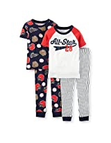 Carters Boys White/Navy 4 Piece Cotton Pajama With All-Star And Sport Printed Tops With Matching Pant Sets - Toddler