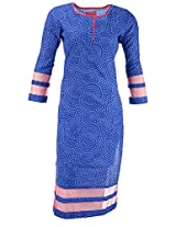 Kraft Corridor Women's Cotton Kurti (AUG045_XXL-44, Blue, XXL-44)