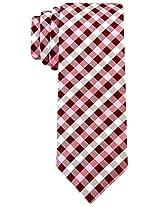 Scott Allan Men's Gingham Plaid Necktie - Burgundy/Pink
