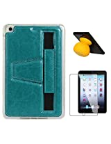 DMG Premium TPU Skin with PU Leather Hand Holder Cover Case For Apple iPad Mini / Mini 2 / Mini 3 (Blue) + Bluetooth Suction Stand Speakers + Matte Screen