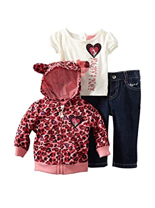 Baby Phat Girl's 2-6X 3-Piece Hoodie, Tee and Pant Set (Dark Wash)